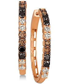Le Vian® Chocolate Layer Cake™ Blackberry Diamonds®, Chocolate Diamonds® & Nude Diamonds™ Hoop Earrings (1-5/8 ct. t.w.) in 14k Rose Gold