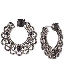Marchesa Hematite-Tone Stone & Crystal Scallop-Edge Swirl Hoop Earrings