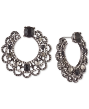 Marchesa HEMATITE-TONE STONE & CRYSTAL SCALLOP-EDGE SWIRL HOOP EARRINGS