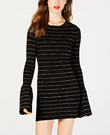 Material Girl Juniors' Shine Striped Sweater Dress, Created for Macy's