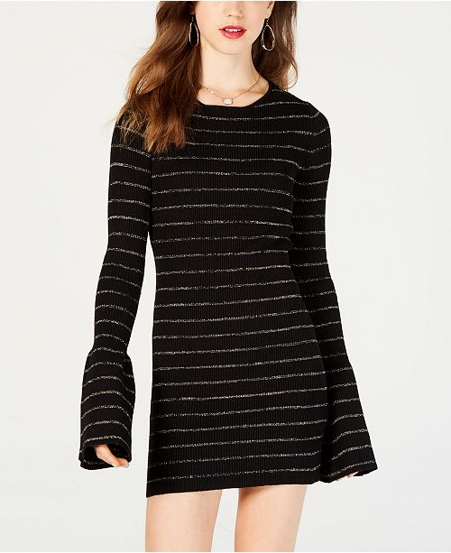 38c66852405 Material Juniors Shine Striped Sweater Dress Created For