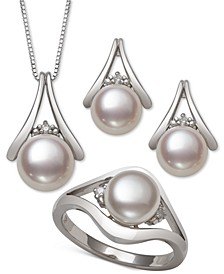 3-Pc. Set Cultured Freshwater Pearl (7 & 8mm) Pendant Necklace, Stud Earrings & Ring in Sterling Silver