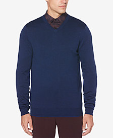 Perry Ellis Men's End-On-End Stripe V-Neck Sweater