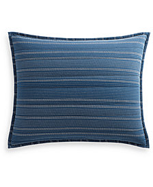 Lucky Brand Running Stitch Quilted Reversible Standard Sham, Created for Macy's