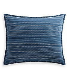 Lucky Brand Running Stitch Quilted Reversible King Sham, Created for Macy's