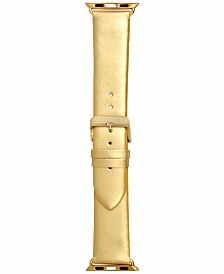 I.N.C. Women's Metallic Gold-Tone Faux Leather Apple Watch® Strap, Created for Macy's