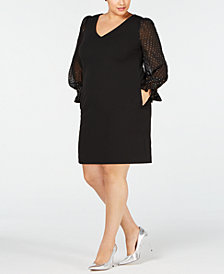 Betsey Johnson Plus Size Illusion-Sleeve Dress