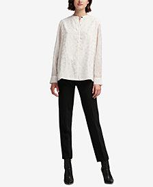 DKNY Printed Mandarin-Collar Blouse, Created for Macy's