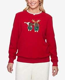 Alfred Dunner Appliqué Anti-Pill Holiday Sweatshirt