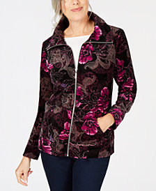 Karen Scott Floral Velour Jacket, Created for Macy's
