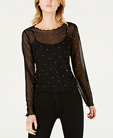 Bar III Studded Illusion Top, Created for Macy's