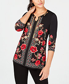 JM Collection Petite Grommet Chain Tunic, Created for Macy's