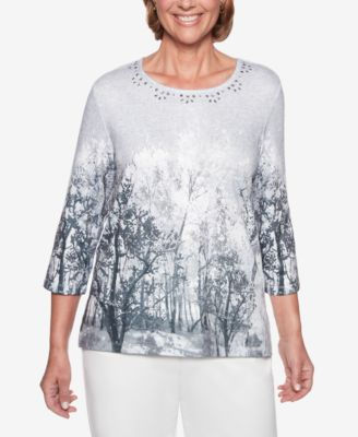 9dfbbb0f005891 Alfred dunner stocking stuffers embellished neck tree print top tif 500x613 Dunner  tops alfred dresses