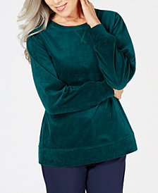 Karen Scott Petite Long-Sleeve Velour Sweatshirt, Created for Macy's