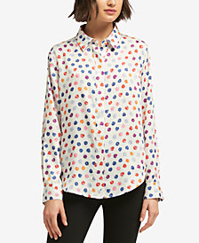 DKNY Printed Button-Down Top, Created for Macy's