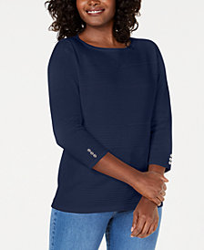 Karen Scott Petite Cotton Pointelle Sweater, Created for Macy's