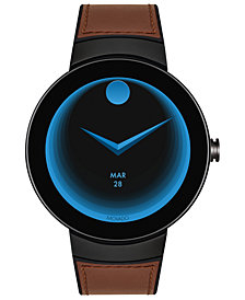 Movado Unisex Swiss Connected Black Silicone & Cognac Leather Strap Smart Watch 46.5mm