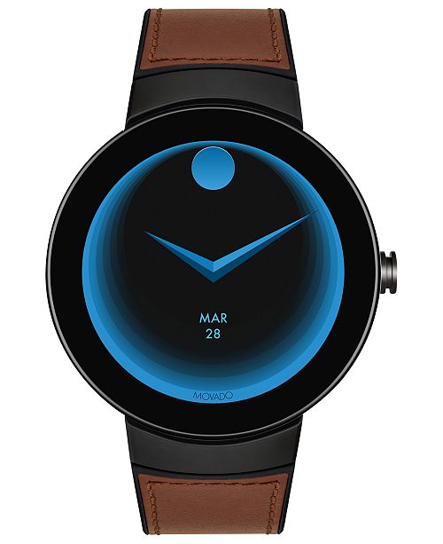 b1673a5d5 ... Movado Men s Connected Black Silicone   Cognac Leather Strap Smart Watch  ...