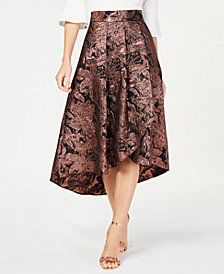 Alex Evenings Metallic Floral High-Low Skirt