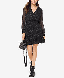 MICHAEL Michael Kors Ruffled Metallic-Jaquard Dress