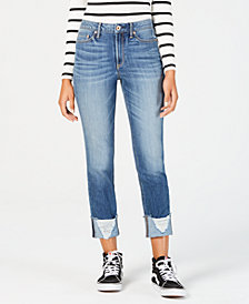 American Rag Juniors' Ripped Cuffed Jeans, Created for Macy's
