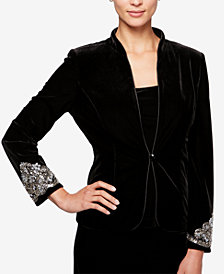 Alex Evenings Beaded Velvet Jacket & Top Set