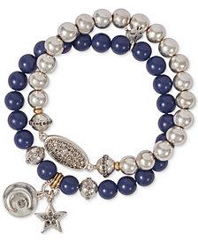 Lucky Brand Two-Tone 2-Pc. Set Stone & Bead Celestial Stretch Bracelets