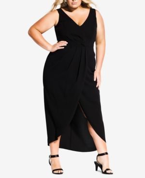 CITY CHIC Trendy Plus Size Faux-Wrap Maxi Dress in Black