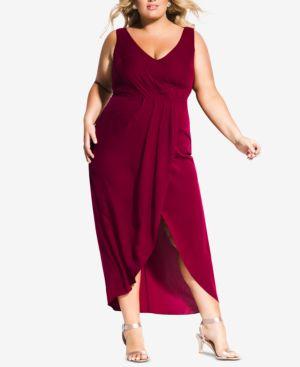 CITY CHIC Trendy Plus Size Faux-Wrap Maxi Dress in Garnet