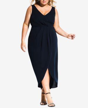 CITY CHIC Trendy Plus Size Faux-Wrap Maxi Dress in Navy