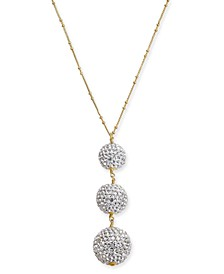 "Two-Tone Pavé Orb Lariat Necklace, 30"" + 3"" extender"