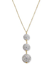 "kate spade new york Two-Tone Pavé Orb Lariat Necklace, 30"" + 3"" extender"