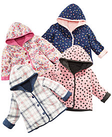 First Impressions Baby Girls Quilted Reversible Hooded Jackets, Created for Macy's