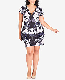City Chic Trendy Plus Size Printed Tunic Dress