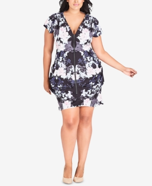8e6edfc3585 City Chic Trendy Plus Size Printed Tunic Dress In Blossom Festival ...