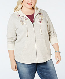 Style & Co Plus Size Embroidery-Detail Hooded Jacket, Created for Macy's