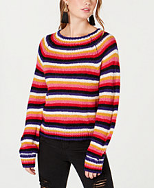 Crave Fame Juniors' Fluffy Striped Sweater