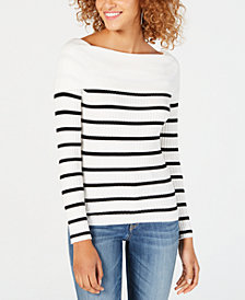 Hooked Up by IOT Juniors' Off-The-Shoulder Striped Sweater