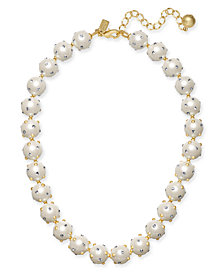 "kate spade new york Gold-Tone Pavé & Imitation Pearl Collar Necklace, 17"" + 3"" extender"