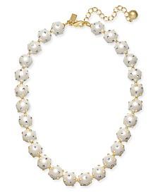 "kate spade new york Gold-Tone Pavé & Imitation Pearl Collar Necklace, 17"" + 3"" extender"