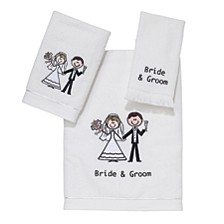 Bride & Groom Embroidered Fingertip Towel