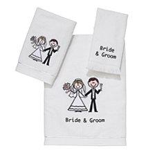 Avanti Bride & Groom Embroidered Hand Towel