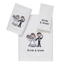 Avanti Bride & Groom Embroidered Fingertip Towel