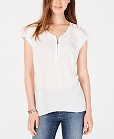 BCX Juniors' Lace-Yoke Zippered Top