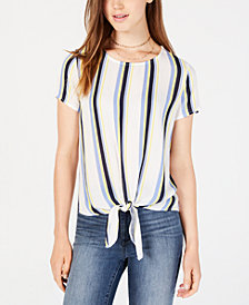 BCX Juniors' Striped Tie-Hem Top