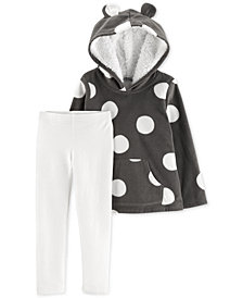 Carter's Toddler Girls 2-Pc. Polka Dot Fleece Hoodie & Glitter Leggings Set