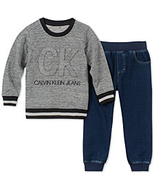 Calvin Klein Little Boys 2-Pc. Logo-Print Top & Jogger Pants Set