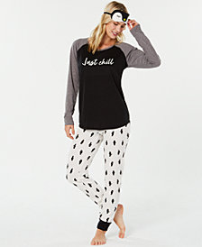 Jenni Knit 3 Piece Pajama Set, Created for Macy's