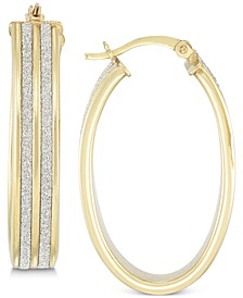 Glitter Hoop Earrings in 18k Yellow Gold Over Sterling Silver or Sterling Silver