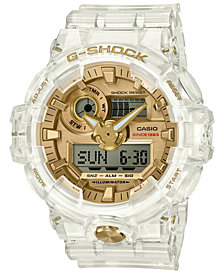 G-Shock FRONT BUTTON ANA-DIGI CLEAR SKELETON WITH GOLD FACE AND ACCENTS GA735E-7A